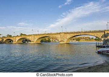 London Bridge in Lake Havasu, old historic bridge rebuilt with original stones
