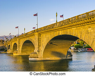 London Bridge in Lake Havasu, old historic bridge rebuilt...