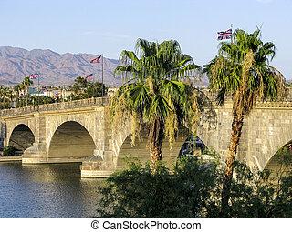 London Bridge in Lake Havasu, old historic bridge rebuilt with original stones in America