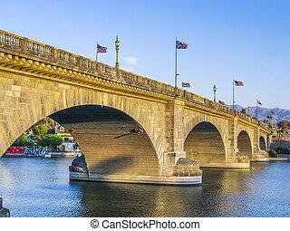 London Bridge in Lake Havasu, old historic bridge rebuilt with o