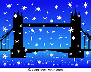 London bridge in winter with falling snow