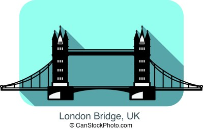 London Bridge landmark flat icon design
