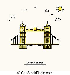 LONDON BRIDGE Monument Poster Template. World Travel Yellow illustration Background in Line Style with beauture nature Scene