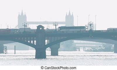 London Bridge On Bright Hazy Morning - Hazy morning view of...