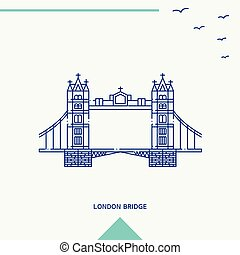 LONDON BRIDGE skyline vector illustration