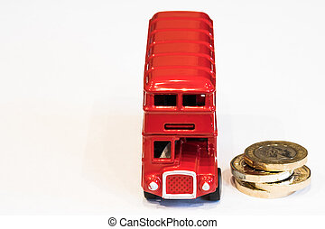 London Bus and 1 Pound Coins - Picture of a toy london bus ...