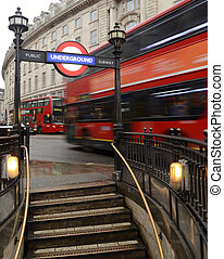 London Bus And Underground Station - Typical London Scene Of...