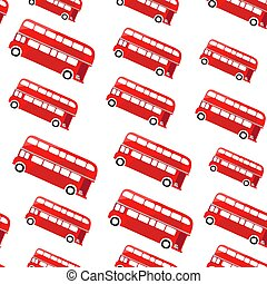 London bus. Seamless pattern. Illustration of a red double decker.