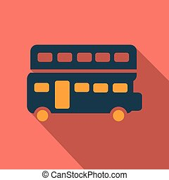 london bus vector illustration isolated on background with long shadow