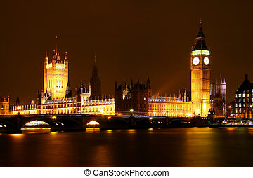 House of parlament at night London England