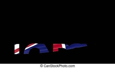 London caption and waving British flag 4K intro animation