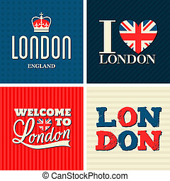 London Cards Collection - A set of typographic design London...
