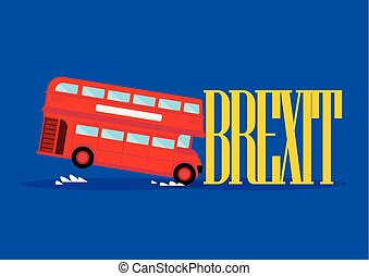 London city bus crashing with brexit word