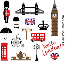 London city. Collection of themed vector clip-art.