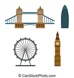 London City icons. Collection of London and United Kingdom famous building. Flat style. Vector illustration