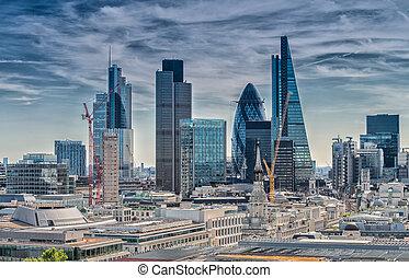 London City. Modern skyline of business district.