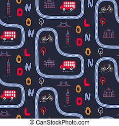 London city outdoor baby seamless vector pattern.