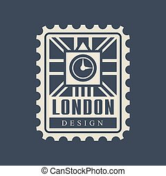 London city postal stamp with abstract Big Ben silhouette...