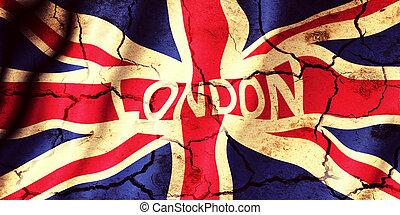 London city sign on United Kingdom flag