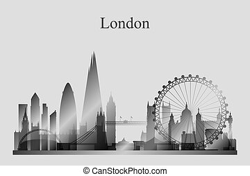 London city skyline silhouette in grayscale, vector...