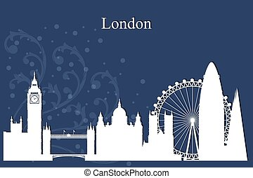 London city skyline silhouette on blue background