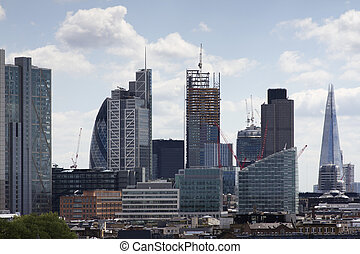 london city skyline - skyline shot of london's financial...