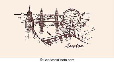 London city skyline,hand-drawn sketch vector illustration on white background.
