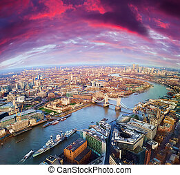 London city sunset, mystic aerial view