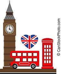 London city. Vector illustration with London symbols.