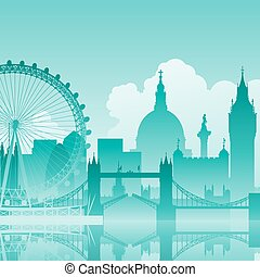 London Cityscape - A Blue Vector Cityscape of London