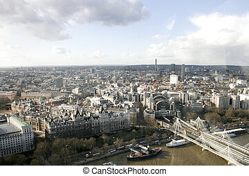 London cityscape - Aerial view of London with the river ...