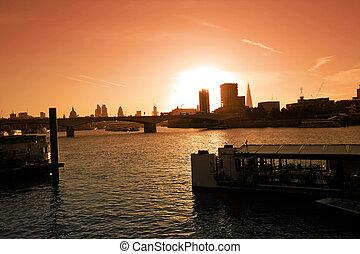 London, cityscape at the sunset, UK