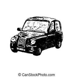 London classic black taxi cab, isolated, drawn vector sketch illustration. side view. Retro hackney carriage