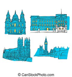 London Colored Landmarks, Scalable Vector Monuments. Filled...
