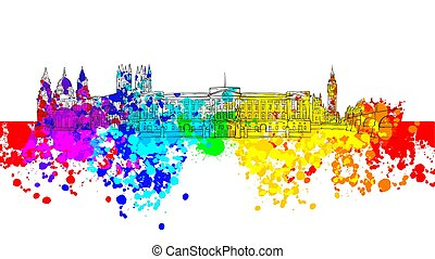 London Colorful Landmark Banner. Beautiful hand drawn vector...