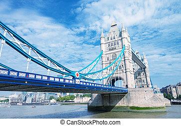 london., den, torn överbrygg, under, a, blåttsky