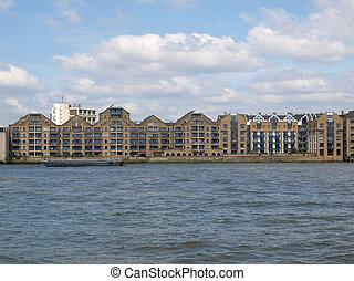 London docks - Docks in London Docklands on River Thames, UK