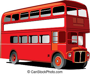 London double decker bus isolated on white with white frame ...