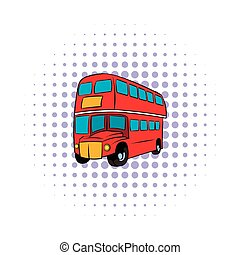 London double decker red bus icon, comics style