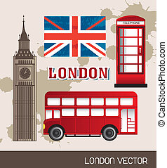 london elements - telephone booth, flag london with bus and...