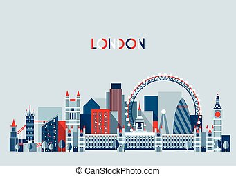 London, England City Skyline Vector. Flat Trendy. - London,...