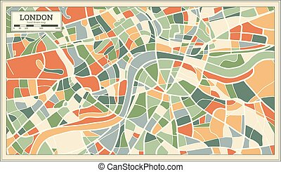London England Map in Abstract Retro Style. Vector...