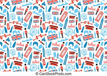 London, England Seamless Pattern. Vector and Illustration