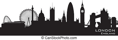 London, England skyline. Detailed vector silhouette - London...