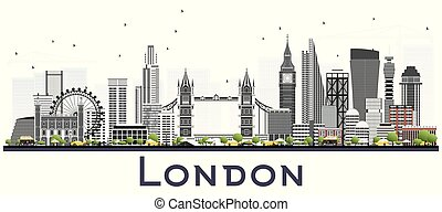 London England Skyline with Gray Buildings Isolated on White Background.