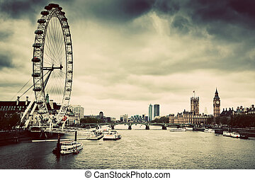 London, England the UK skyline. London Eye, Big Ben, River Thames