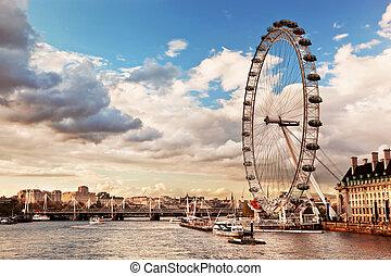 London, England the UK skyline. The London Eye