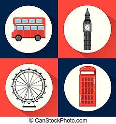 london england toruism travel landmark symbol vector...