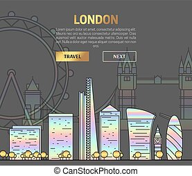 London, England view street with sights in hologram and...