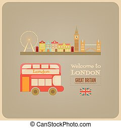 London. English Postcard with Red Bus. Vector Illustration.